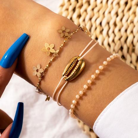 metal shell flower crystal anklet bracelet set  NHGY287735's discount tags