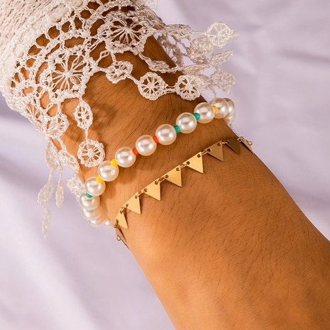 double-layer pearl anklet NHGY289544's discount tags