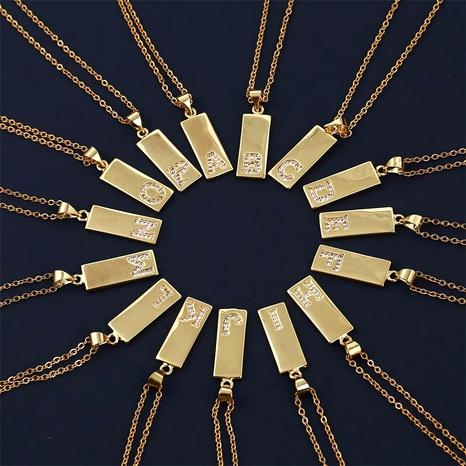 Korean  long copper inlaid zirconium 26 letter necklace  NHLA287559's discount tags