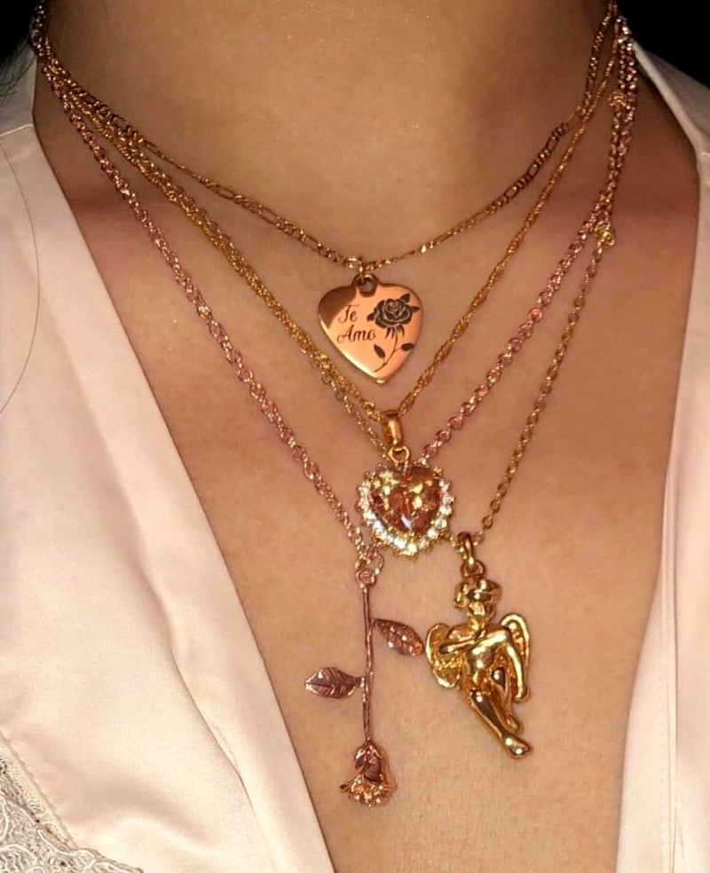 fashion  multilayer key love rose angel pendant necklace  NHAJ287602