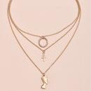 hot sale full diamond circle head cross multilayer womens link necklace NHAJ287603