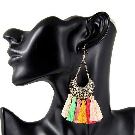 fashion bohemian retro U-shaped flower tassel earrings NHPF287608's discount tags