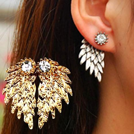 retro angel wings feather diamond alloy earrings NHPF287609's discount tags