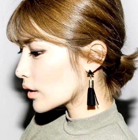 fashion retro leather tassel long earrings  NHPF287620's discount tags