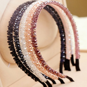 Korean fashion super flashing double row crystal handmade headband NHGE287628