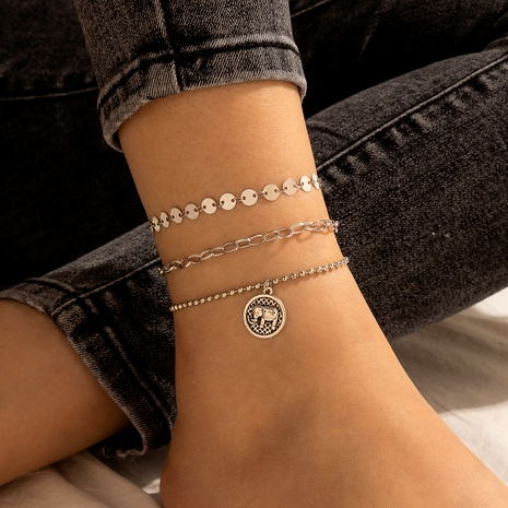 new metal hollow elephant pendant anklet  NHGY289530's discount tags