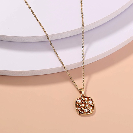 fashion square pearl hollow necklace NHAN287653's discount tags