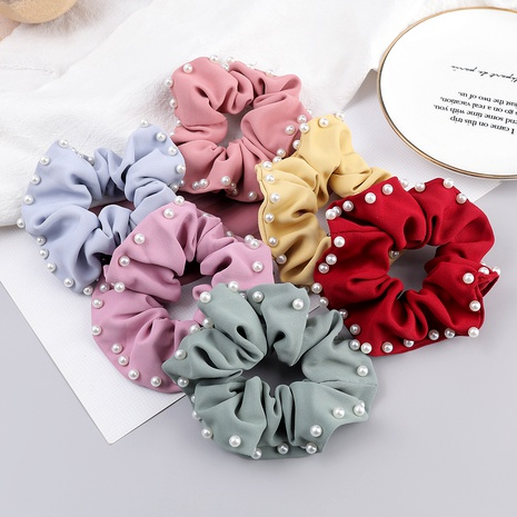 pure color fabric inlaid pearl hair scrunchies NHJE287666's discount tags