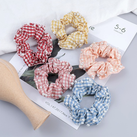 fabric inlaid pearl hair scrunchies NHJE287667's discount tags