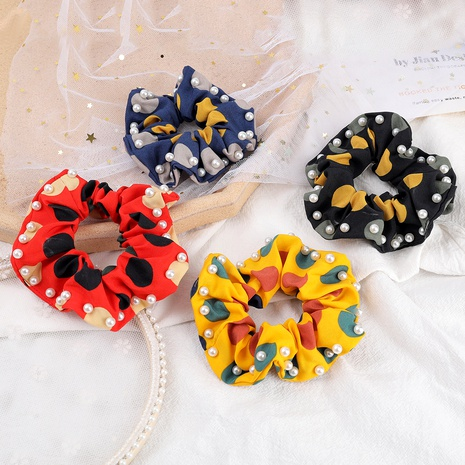 multicolor big polka dot fabric inlaid pearl hair scrunchies NHJE287668's discount tags