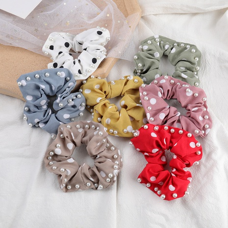 multicolor polka-dot fabric inlaid pearl hair scrunchies NHJE287669's discount tags