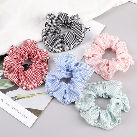 fashion plaid fabric inlaid with pearls hair scrunchies NHJE287670's discount tags