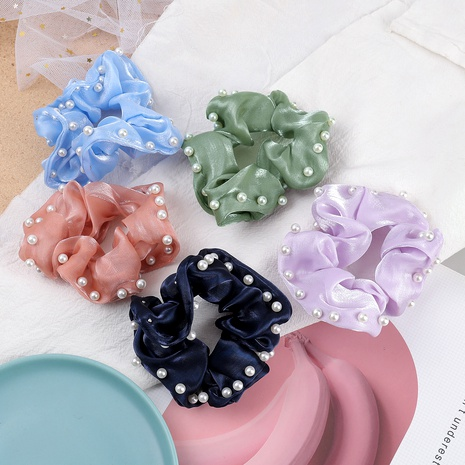 pure color inlaid pearl hair scrunchies NHJE287671's discount tags