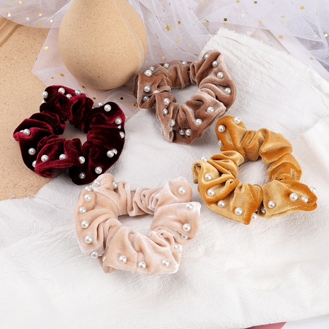 pure color flannel inlaid pearl hair scrunchies NHJE287672's discount tags