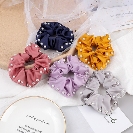 fashion pure color fabric inlaid pearl hair scrunchies NHJE287676's discount tags