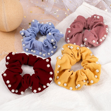 pure color cotton fabric inlaid pearl hair scrunchies NHJE287677's discount tags