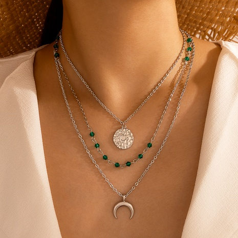fashion green crystal alloy disc necklace multilayer adjustable clavicle chain  NHGY288025's discount tags