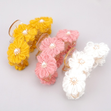 Exquisite resin cotton flower imitation pearl hairpin  NHJE287686's discount tags