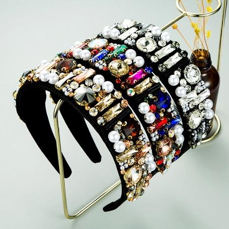 Diadema de perlas de ala ancha cosida a mano con diamantes barrocos retro NHLN287710's discount tags
