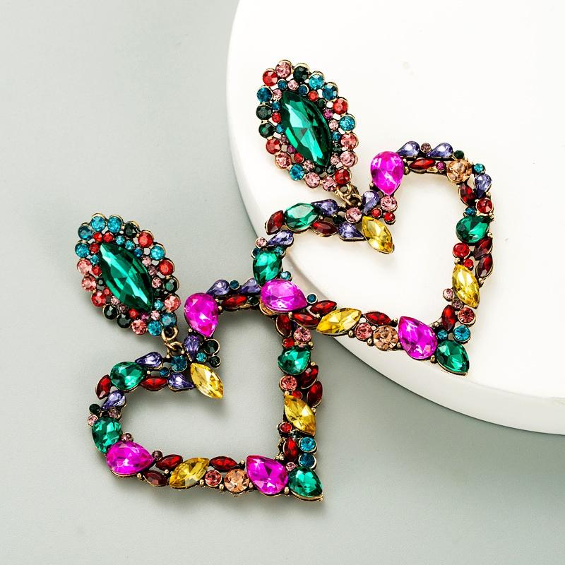 heart-shaped alloy full diamond earrings S925 silver  NHLN287715