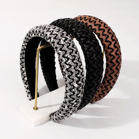 fashion simple plaid woven wild headband  NHMD287720's discount tags