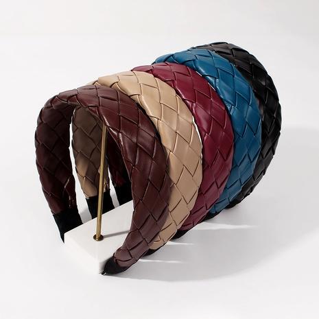 PU cross-woven creative  solid color wide-brim retro headband NHMD287721's discount tags