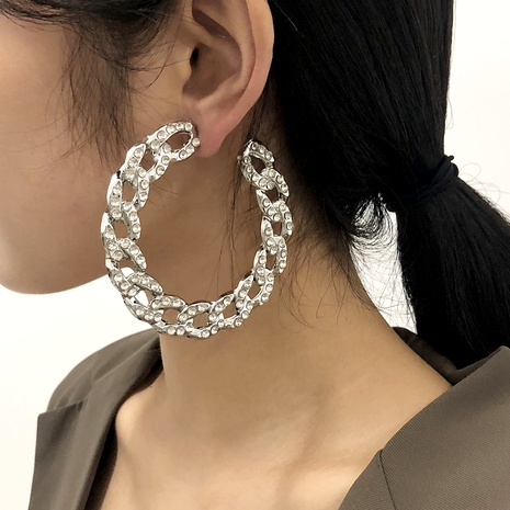 large chain diamond alloy earrings NHMD287731's discount tags