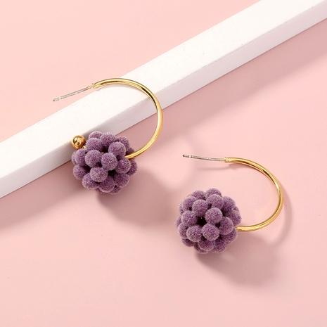 purple ball C-shaped metal earrings  NHAN287775's discount tags