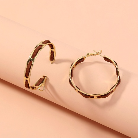 fashion leather big circle earring  NHAN287776's discount tags