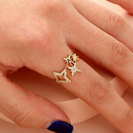 bague ouverte exquise étoile à cinq branches en diamant NHAN287779's discount tags