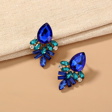 fashion blue crystal zircon stud earrings NHAN287780's discount tags