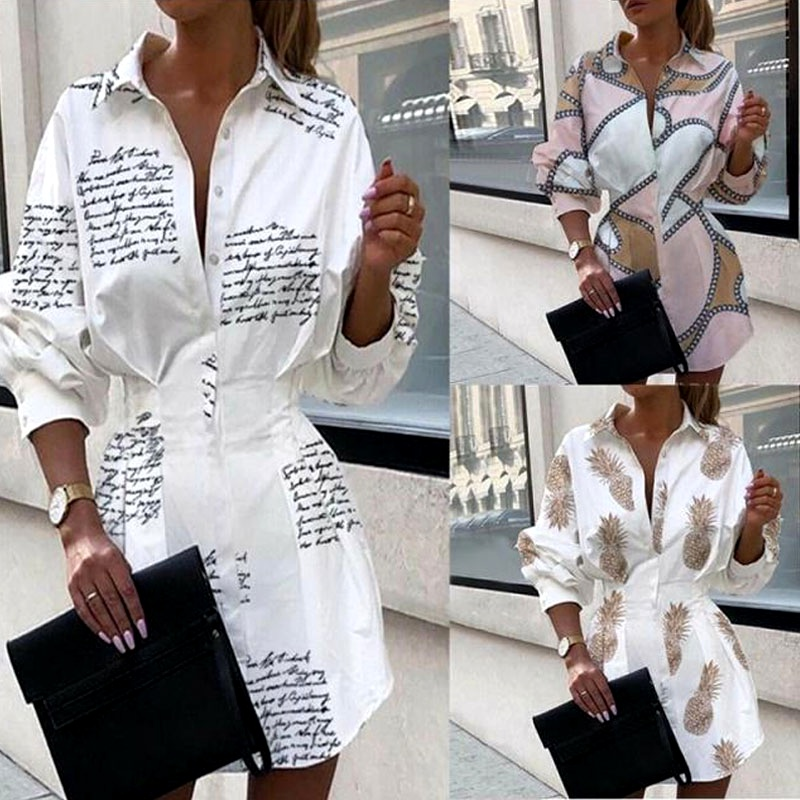 Fashion printed waist shirt lantern sleeve shirt NHJC288030