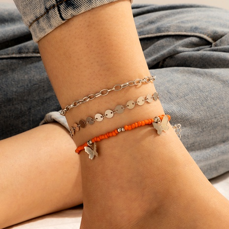 simple style three-layered clip bead chain metal hollow Butterfly anklet 3-piece set NHGY289527's discount tags
