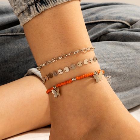 einfacher Stil dreischichtige Clip Perlenkette Metall hohl Schmetterling Fußkettchen 3-teiliges Set NHGY289527's discount tags