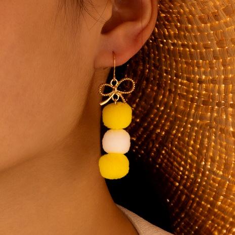 Korean  simple soft fur ball hard fur ball bright yellow earrings  NHGY289520's discount tags