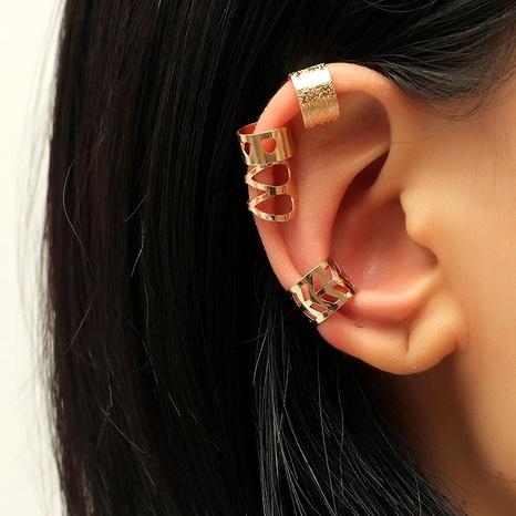Simple  creative fashion metal alloy hollow geometric ear bone clip set NHKQ287818's discount tags