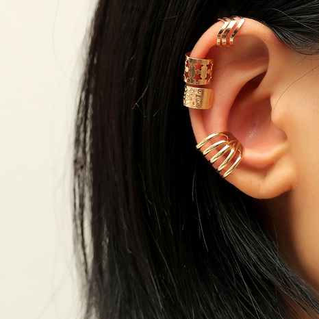 Simple  geometric hollow ear clips all-match 4-piece set NHKQ287819's discount tags