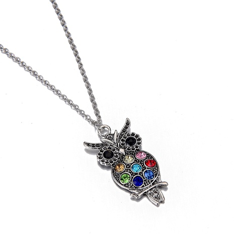 new stainless steel chain diamond colorful owl necklace NHOA287829's discount tags