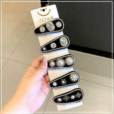 Baroque pearl rhinestone velvet hairpin NHOF287839's discount tags