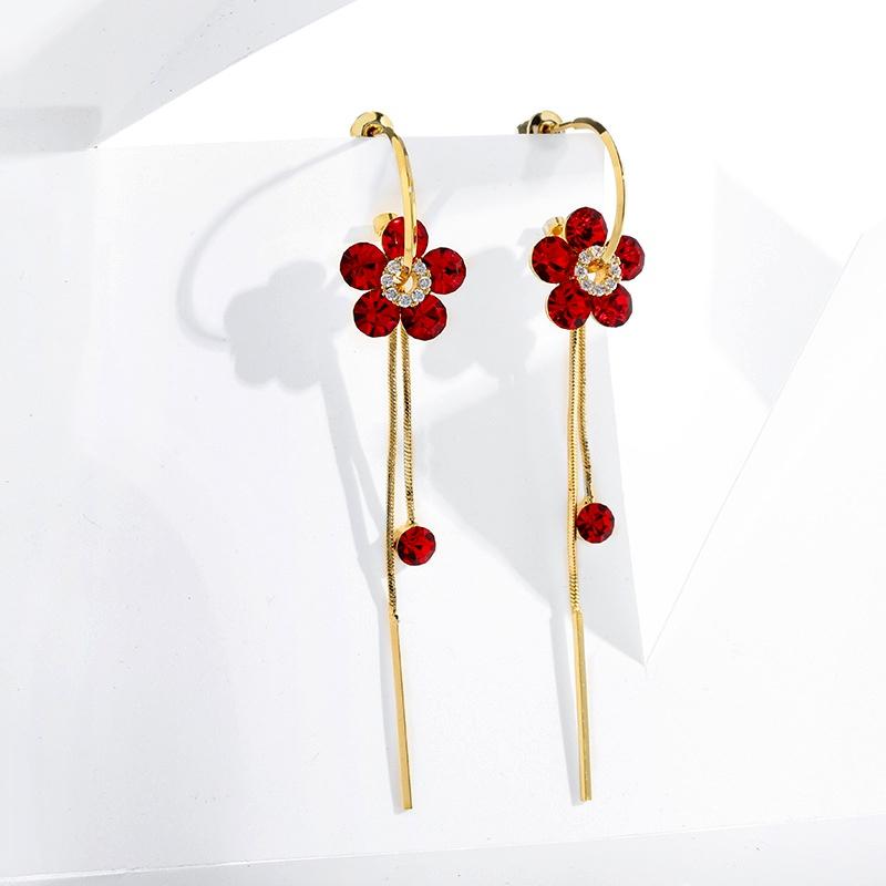 925 silver needle long tassel fashion earrings  NHPP287849