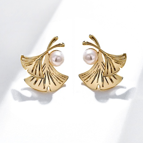 Ginkgo leaf 925 silver needle simple imitation pearl earrings NHPP287866's discount tags
