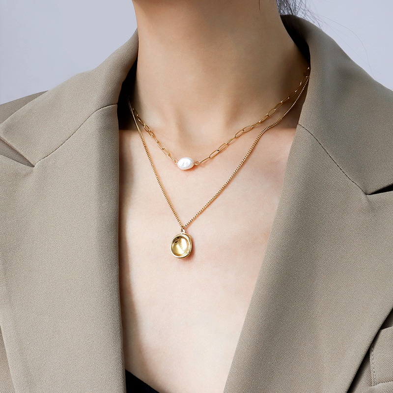 bump pendant double layered freshwater pearl necklace NHOK287931