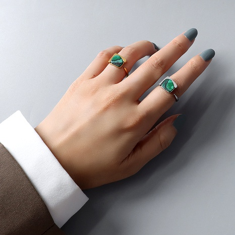 anneau ouvert simple rétro turquoise acier titane NHOK287935's discount tags