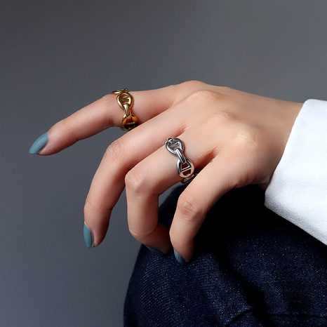 offener Ring aus Retro-Titanstahl NHOK287940's discount tags