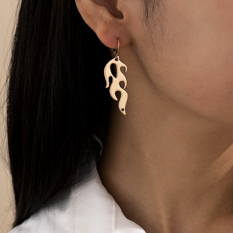 retro punk style hollow flame earrings  NHXR287958's discount tags