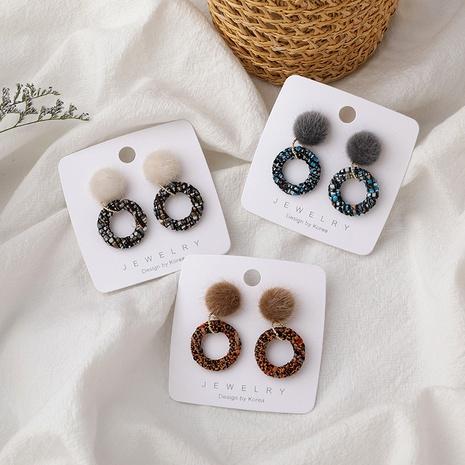 Korean cute plaid fur ball woolen earrings  NHMS287986's discount tags