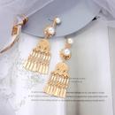 Pearl fringed retro ear clips NHQD288013