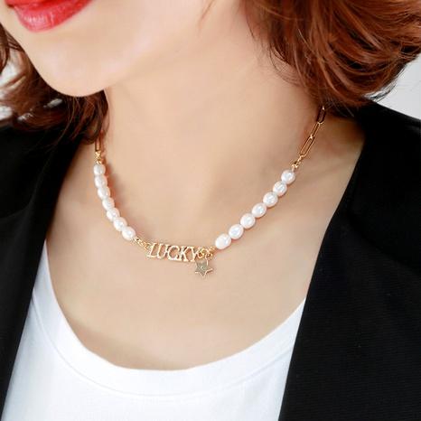 Collar de perlas de moda con letras de la suerte NHQD288024's discount tags