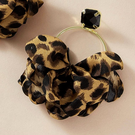 retro leopard print fabric circle fan-shaped cloth earrings  NHGY289550's discount tags