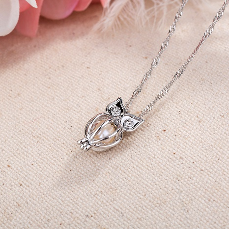 hollow owl natural freshwater oyster pearl  animal necklace  NHAN287657's discount tags